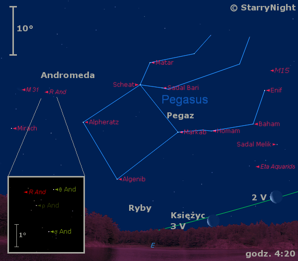 Położenie Księżyca i radiantu eta-Akwarydów w pierwszym dniach maja 2016 r.