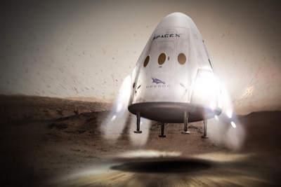 Red Dragon lądujący na Marsie