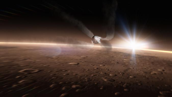 Red Dragon wchodzący w atmosferę Marsa