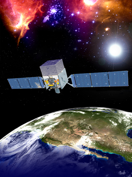 Artystyczna wizja znajdującego się w przestrzeni kosmicznej urządzenia FERMI GST
