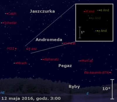 Położenie radiantu eta-Akwarydów oraz gwiazdy R And w drugim tygodniu maja 2016 r.