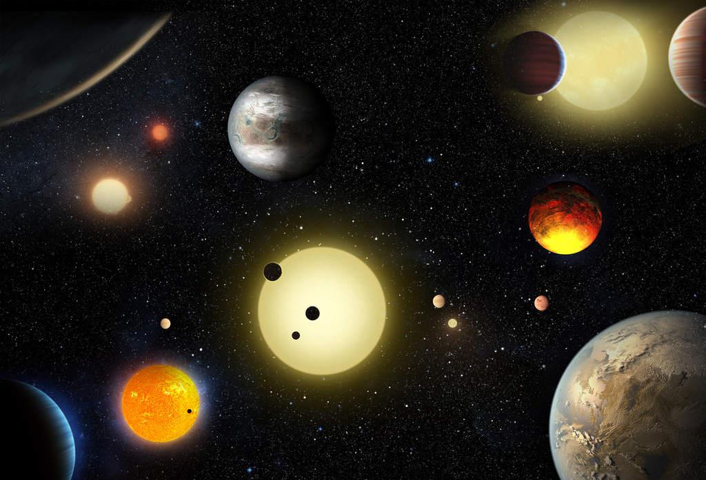 Wizja artystyczna egzoplanet odkrytych przez Keplera