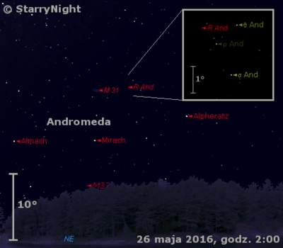 Położenie gwiazdy R And w czwartym tygodniu maja 2016 r.