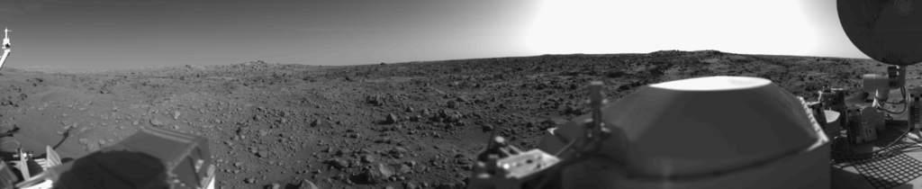 Jedno z pierwszych panoramicznych zdjęć powierzchni Marsa.