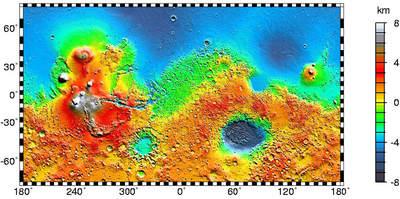 Mapa obrazująca dychotomię Marsa.
